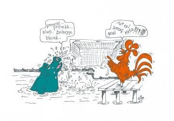 Cartoon haan en varken | Het vertalen van InDesign-bestanden